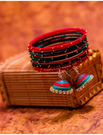 Red Green Bangles and Earring Set