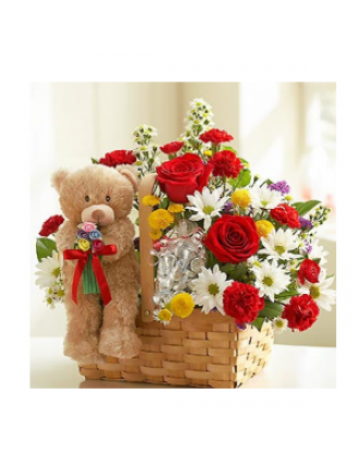 Teddy & flowers in a basket
