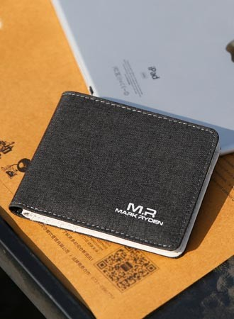 Dark grey canvas wallet