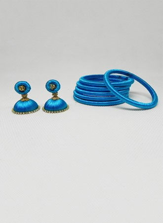 Silk thread Bangles & earring (blue)