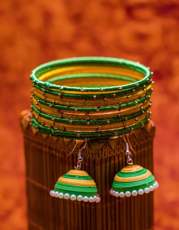 Green Yellow Bangles and  Earring Set
