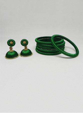 Silk thread Bangles & earring (green)