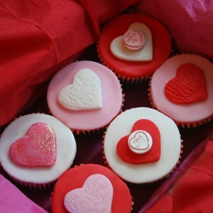 Heart shaped cup cake valentines day