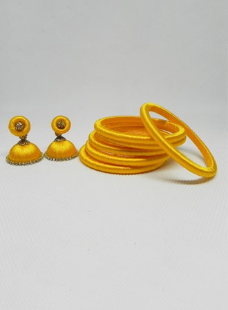 Silk thread Bangles & earring (yellow)